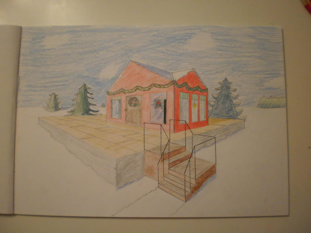 Christmas House Drawing.Christmas House Drawing By Blue Yellow Cloud On Deviantart