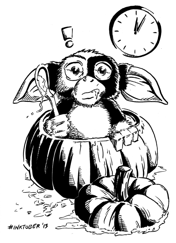 Inktober 2015, Day 31 - Mogwai's Halloween Mishap by spacehamster