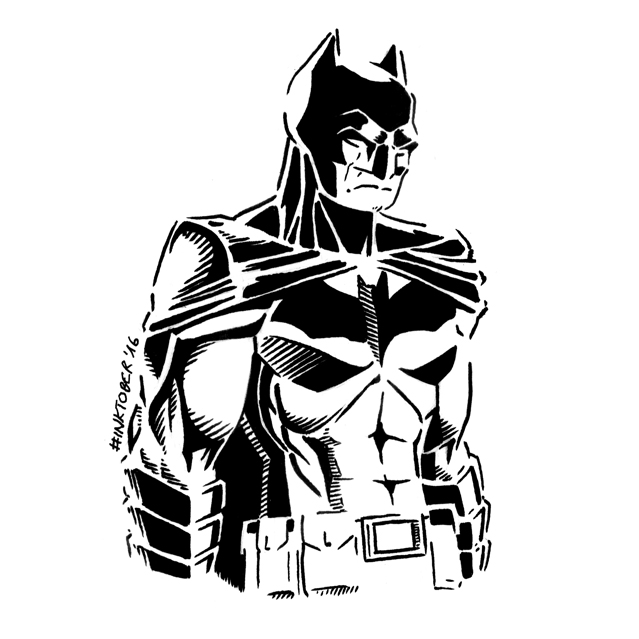 Inktober 2016, Day 29: Batman by spacehamster
