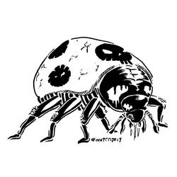 Inktober 2017, Day 4: Scary Ladybug by spacehamster