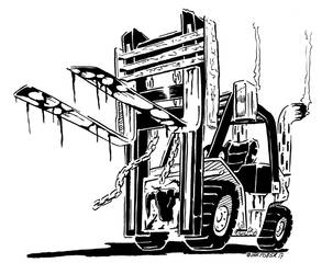 Inktober 2017, Day 10: Death by Forklift by spacehamster