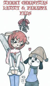 Xmas'13 Mistletoe - Lammy + Parappa