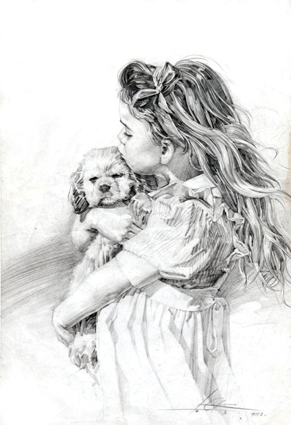 Little girl pencil by cklum