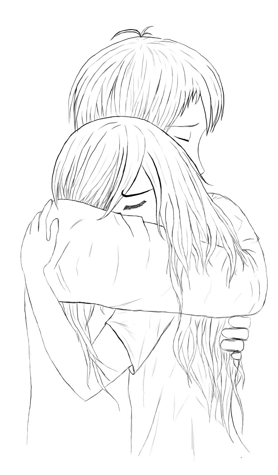 Hugging Couple Drawing Hug - lineart by Illsa...