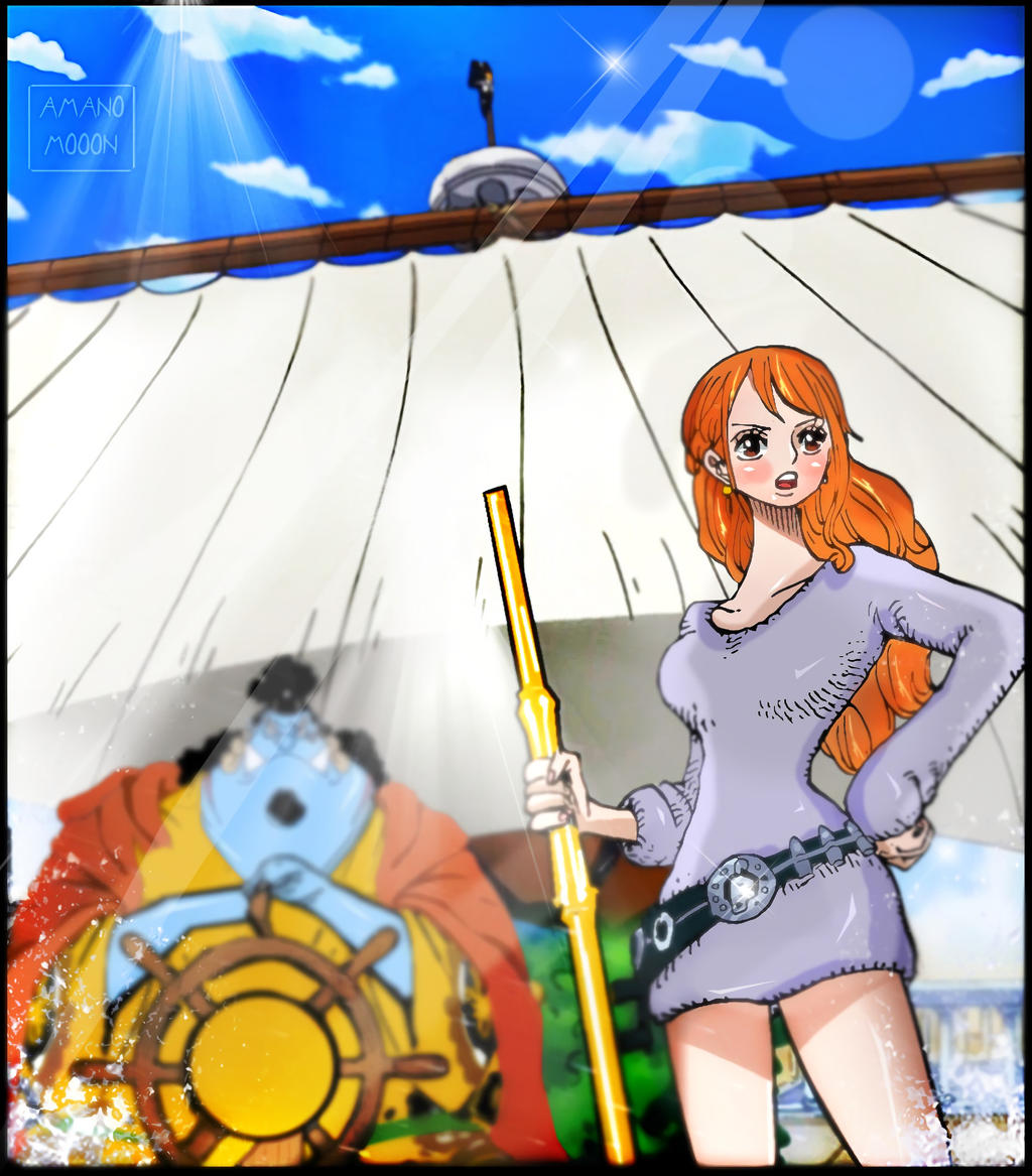 One Piece Chapter 885 Nami Jinbei Whole Cake Color by Amanomoon