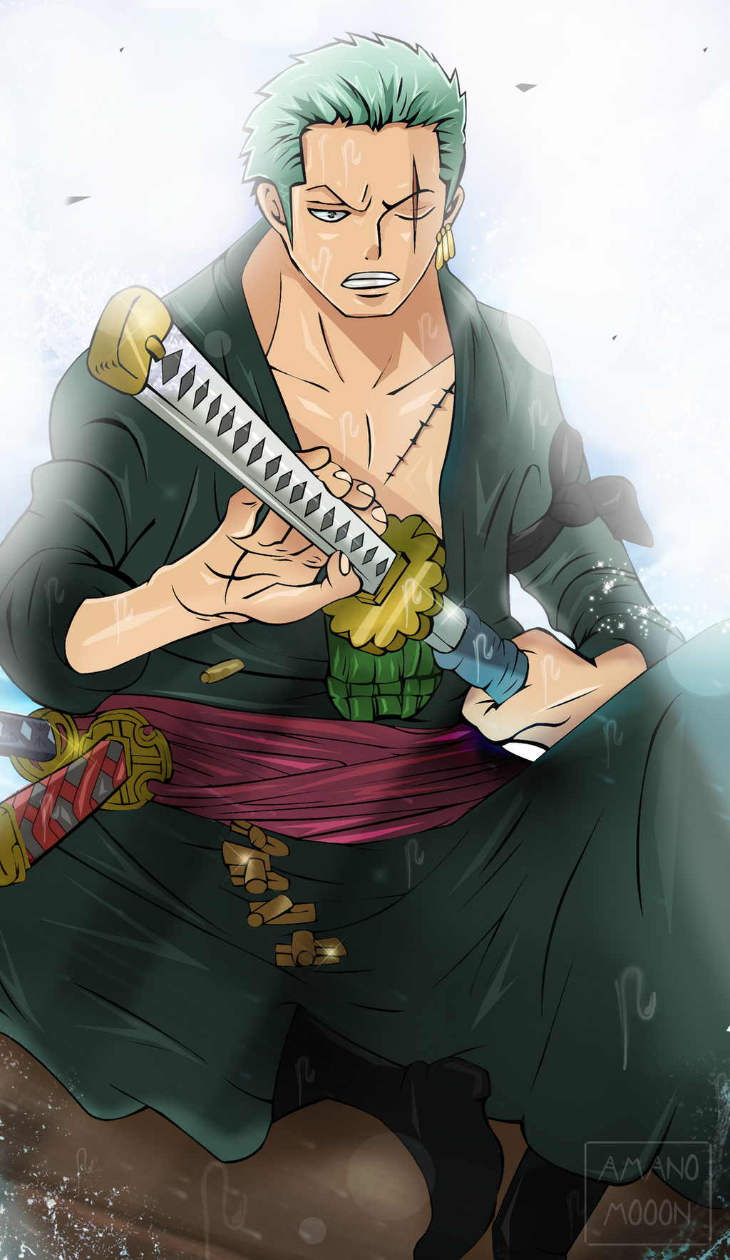 One Piece Roronoa Zoro Cut a Ship Manga Colors HD by Amanomoon