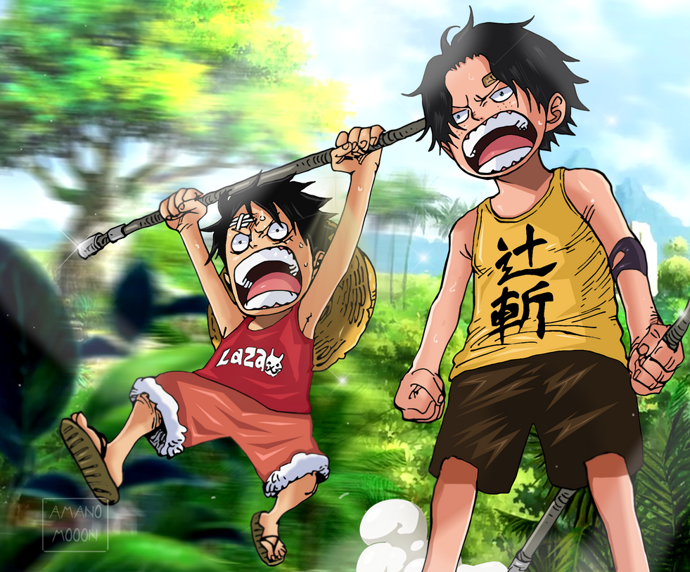 One Piece Brotherhood Luffy and Ace Child Colors by Amanomoon