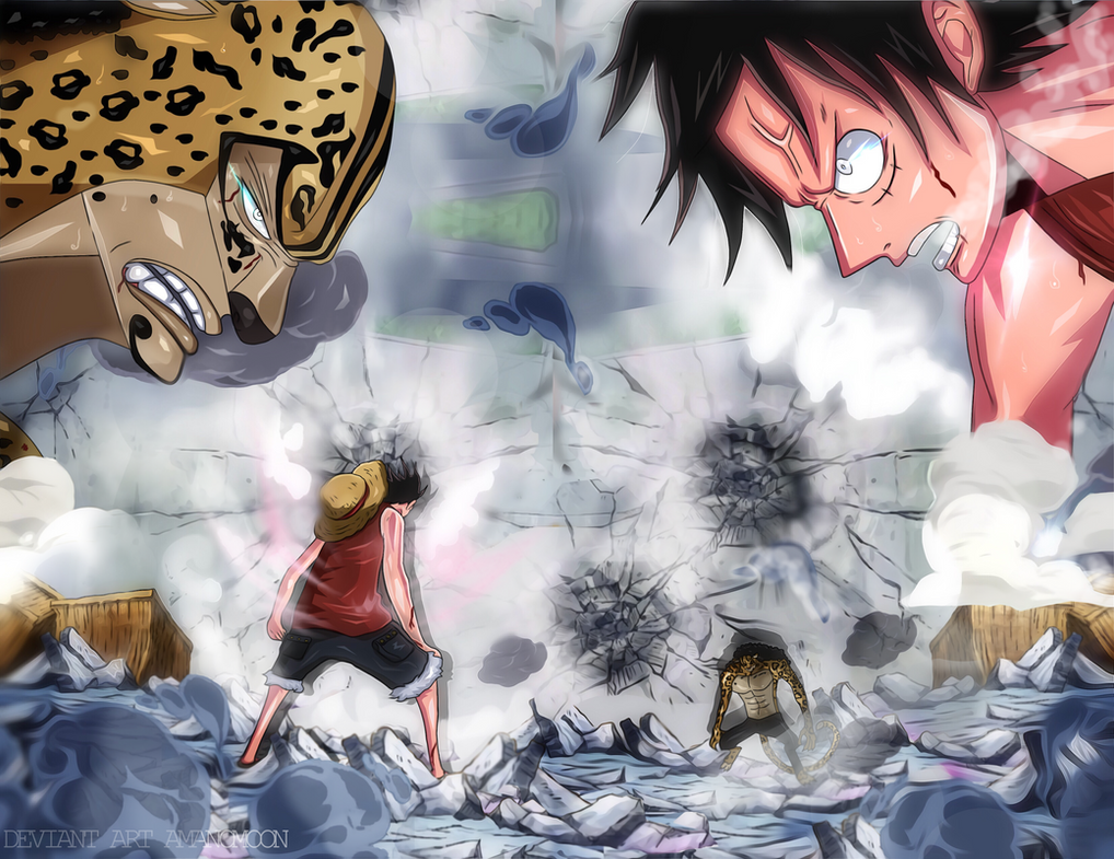 One Piece Luffy vs Rob Lucci Manga Enies Lobby Col by Amanomoon