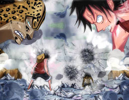 One Piece Luffy vs Rob Lucci Manga Enies Lobby Col by Amanomoon