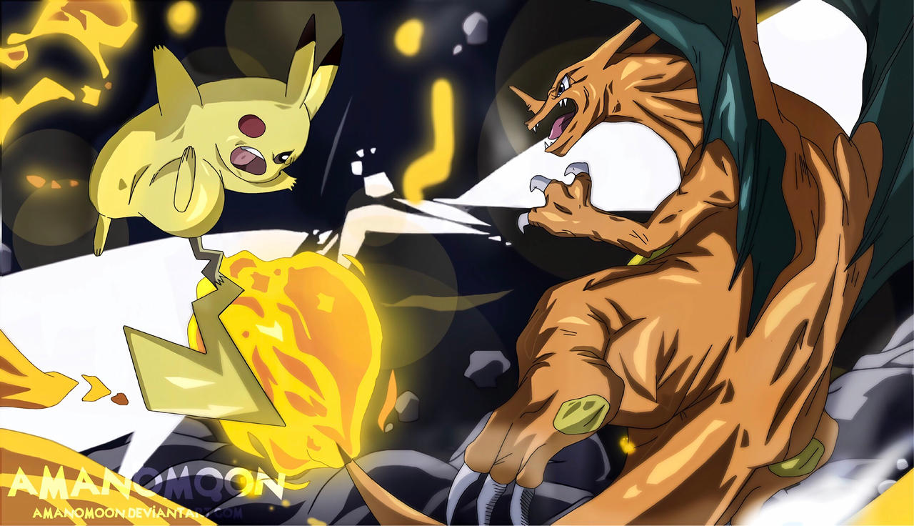 Pokemon Pikachu Vs Charizard Naotoshi Shida Anime By Amanomoon On