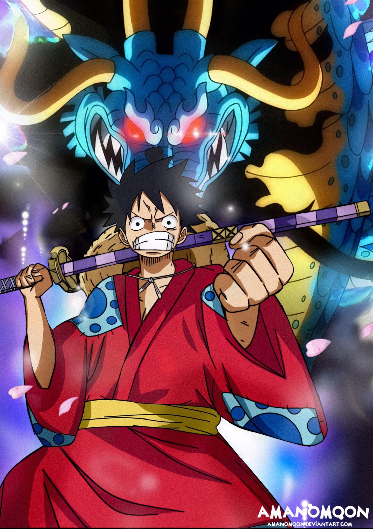 One Piece Luffy vs Kaido Fanart Wano Kuni Country by ...