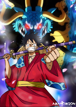One Piece Luffy vs Kaido Fanart Wano Kuni Country