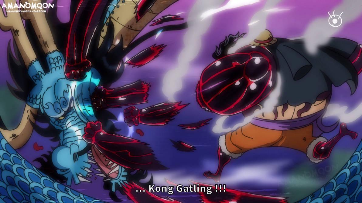 One Piece Chapter 1002 Luffy vs Kaido Kong Gatling