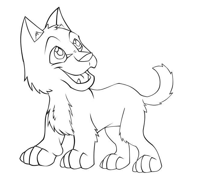 Simple Wolf Pup Drawing Wolf Pup Lineart...653