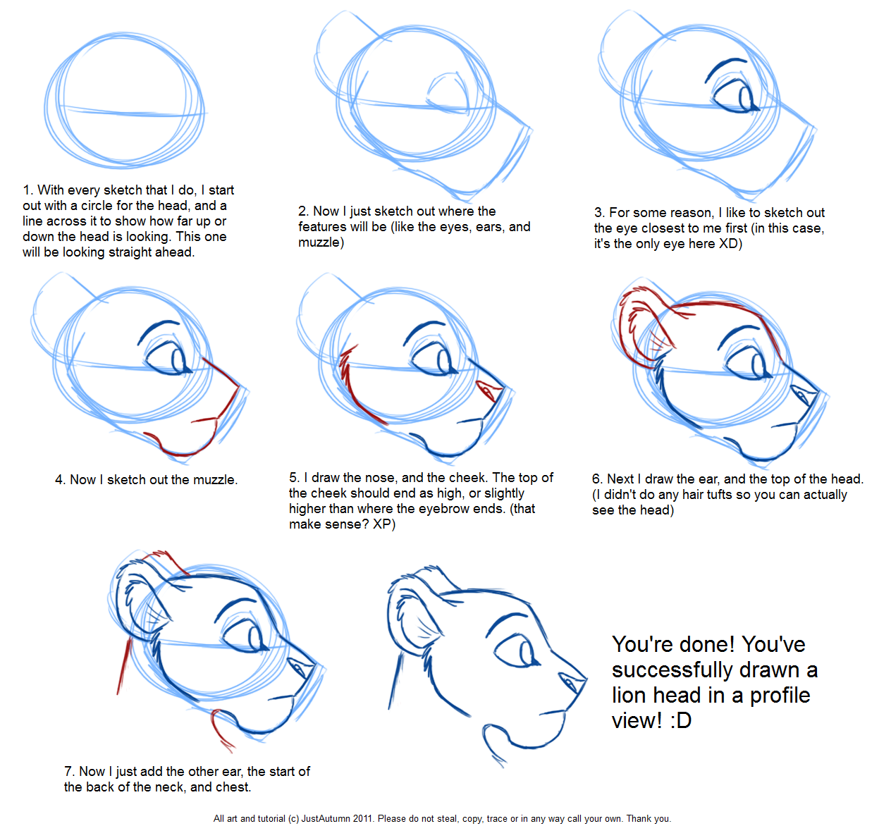 Scribble Drawing Tutorial : How to draw feline profile tutorial by justautumn on