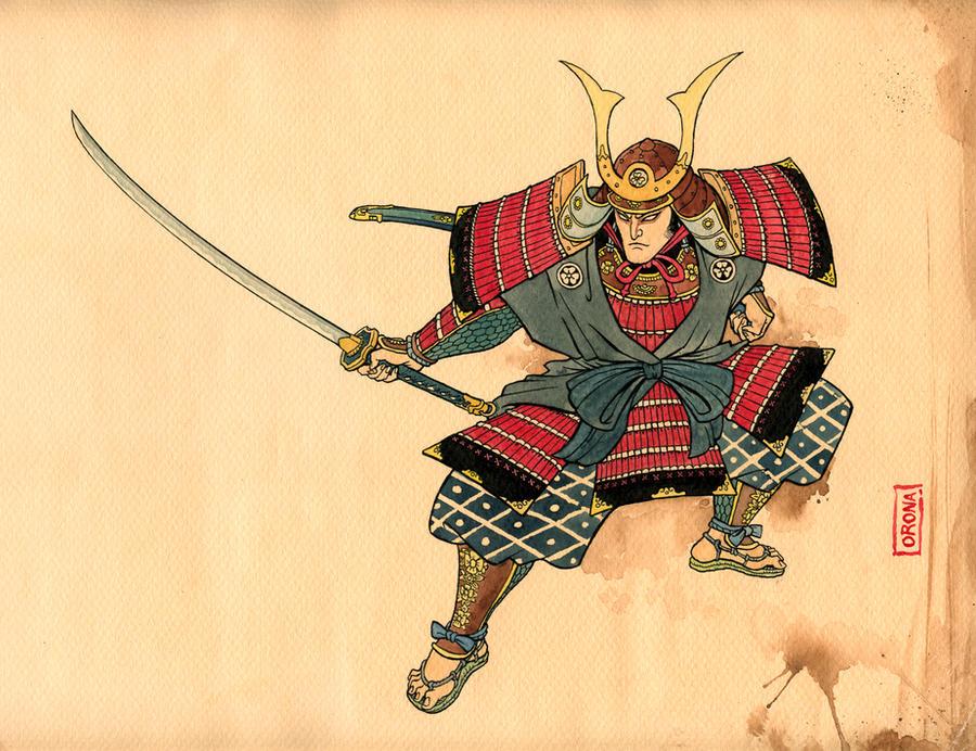 Samurai Ukiyo-e style
