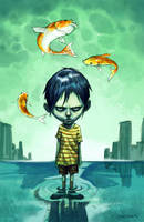 Child with fishes by martinorona