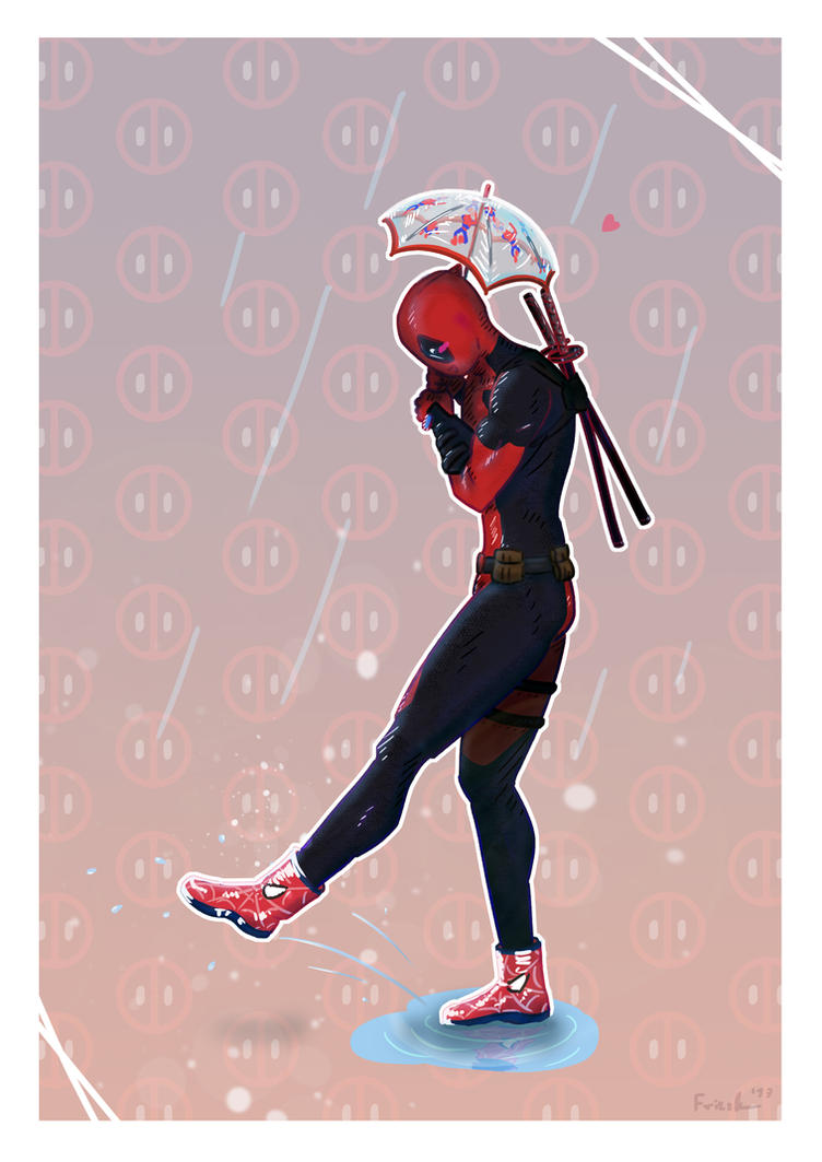 Deadpool enjoys his new rain-outfit by 12teYoshi