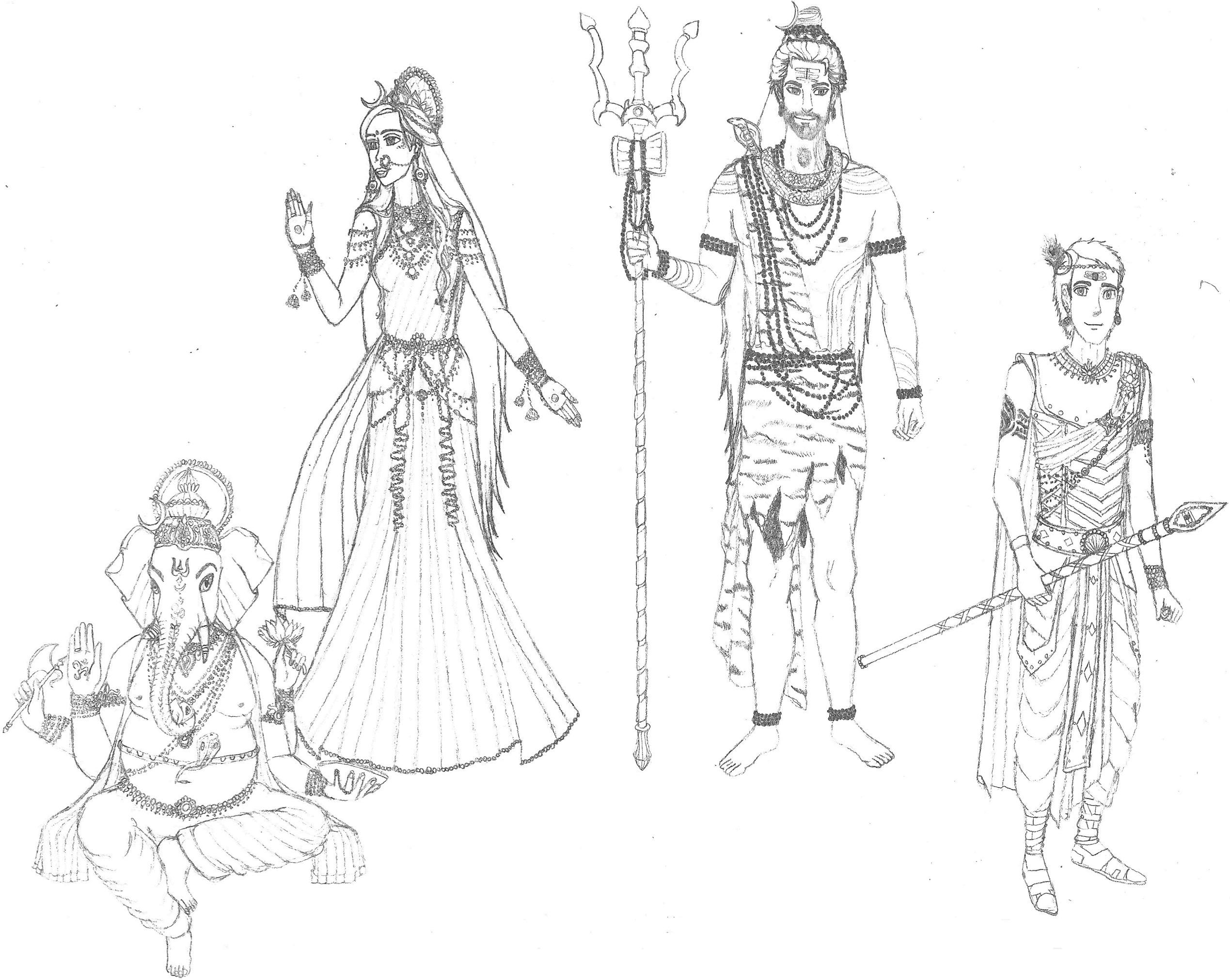 Shiva Parvati Ganesha And Karttikeya By R3m1stikn On Deviantart