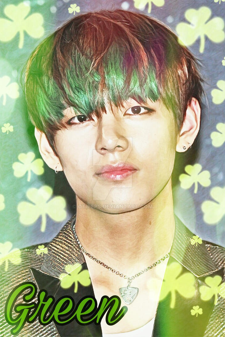 Bts V Greenhair By Otipeps On Deviantart