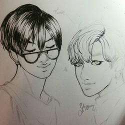 Inktober 1 Taemin and Yugyeom -progress picture- by Awesome9000