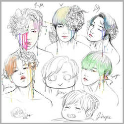 Bangtan flowers 1000 days -wip- by Awesome9000