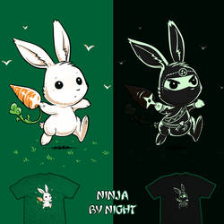 Ninja by Night - glow tee by InfinityWave