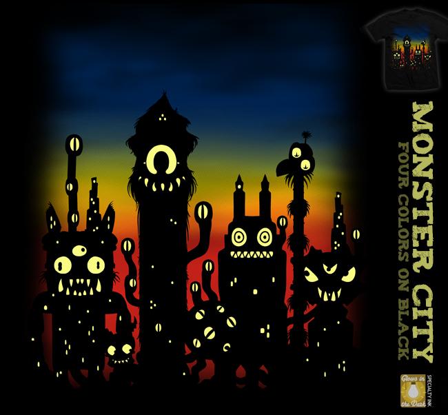 Monster City - glow tee by InfinityWave