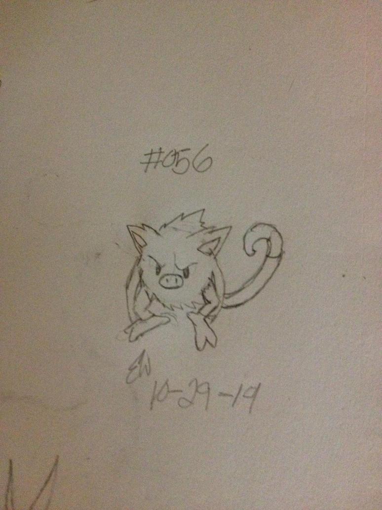 .:Pokemon Challenge:. #056 Mankey by AmyKittenFox