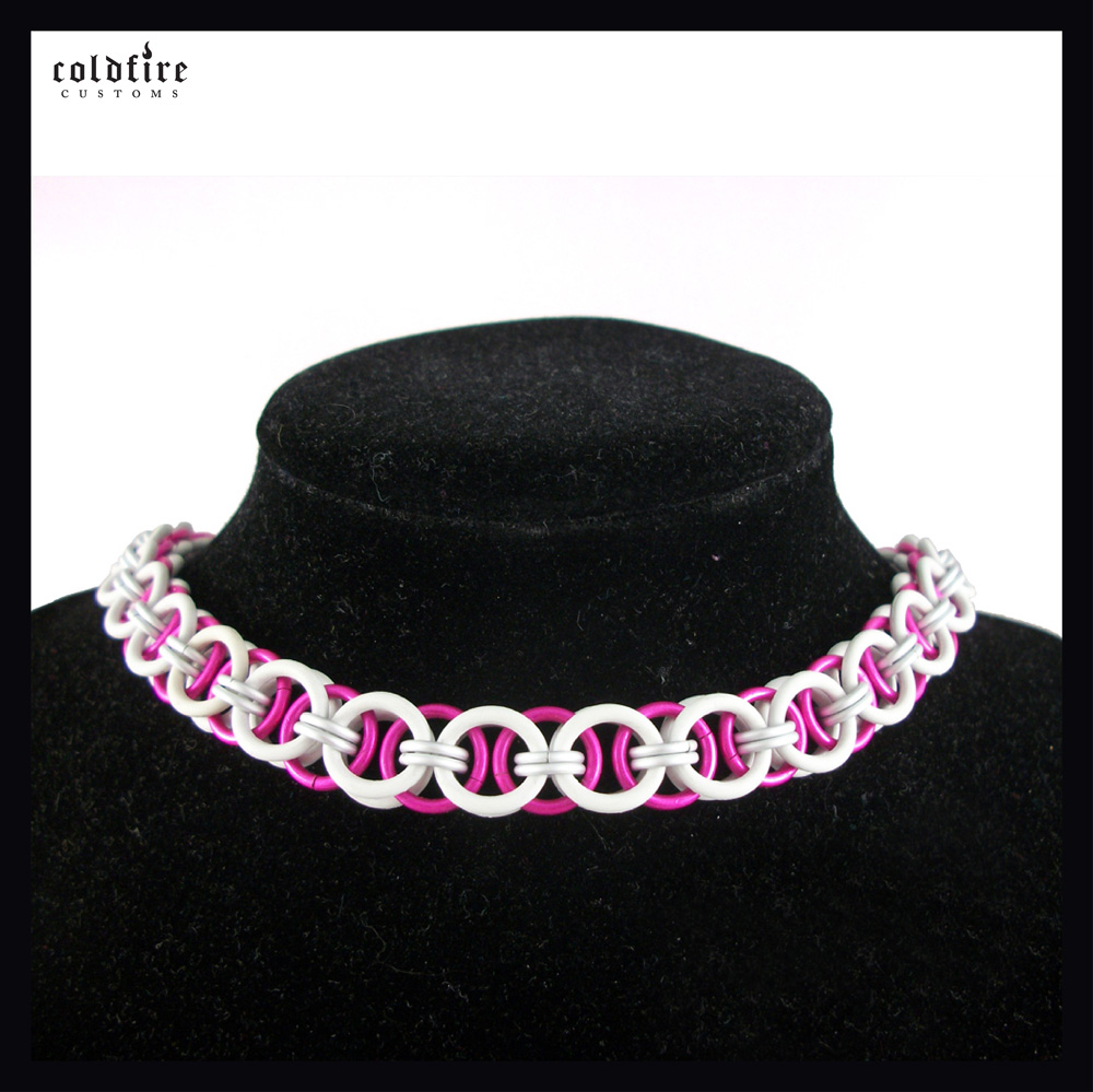 Pink and White Stretchy Choker by coldfirecustoms