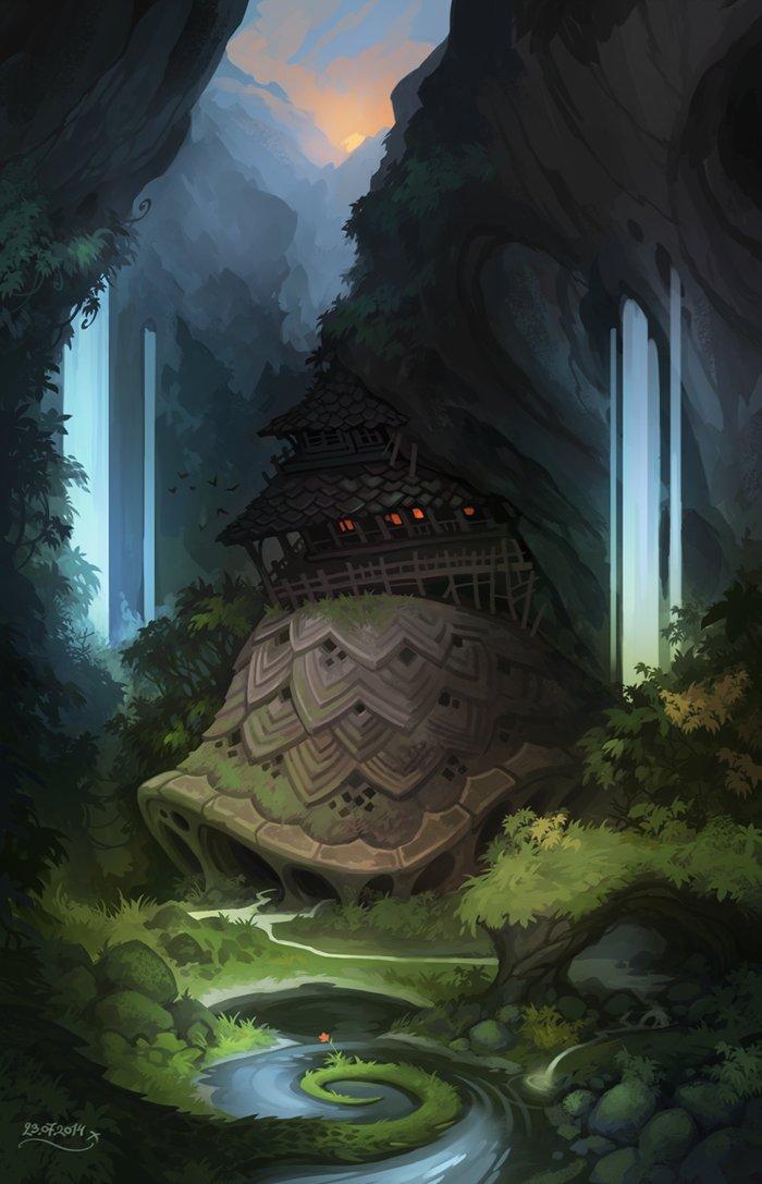 Stoyan-stoyanov-waterfalls-giant-shell-and-a-drago by StoyanTStoyanov