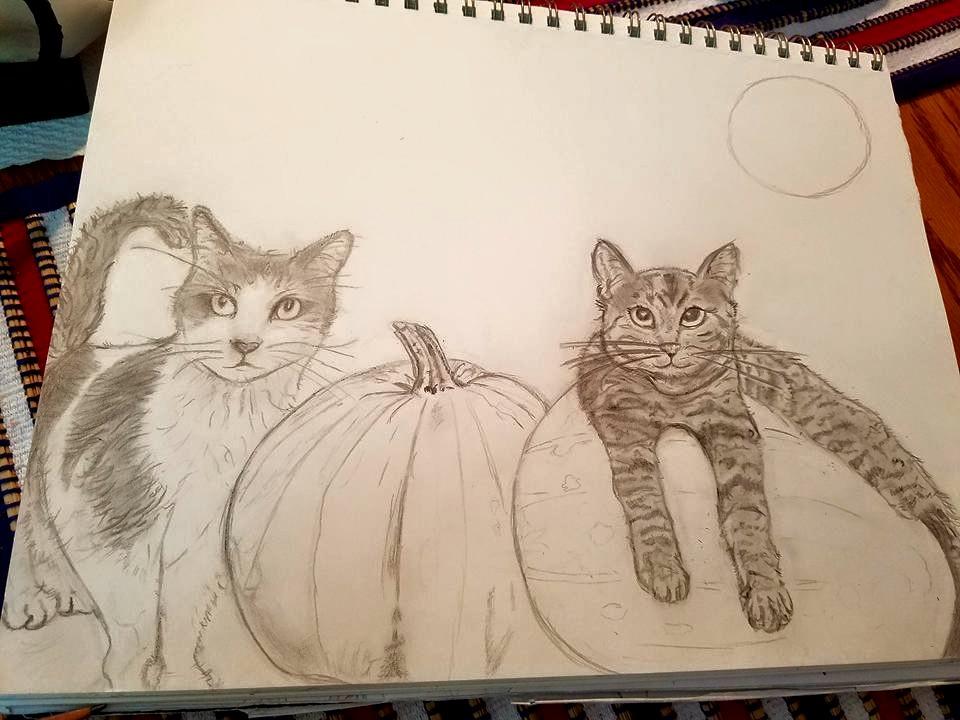Cats in Pumpkin Patch by Darkendrama