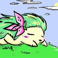 Shaymin in the Grass by cheruppi