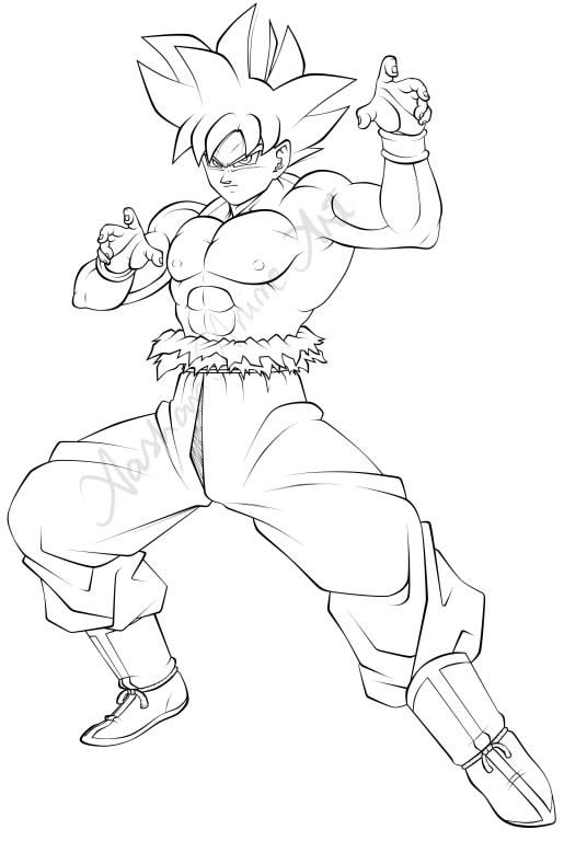 Goku Ultra Instinct Line Art by AashanAnimeArt on DeviantArt