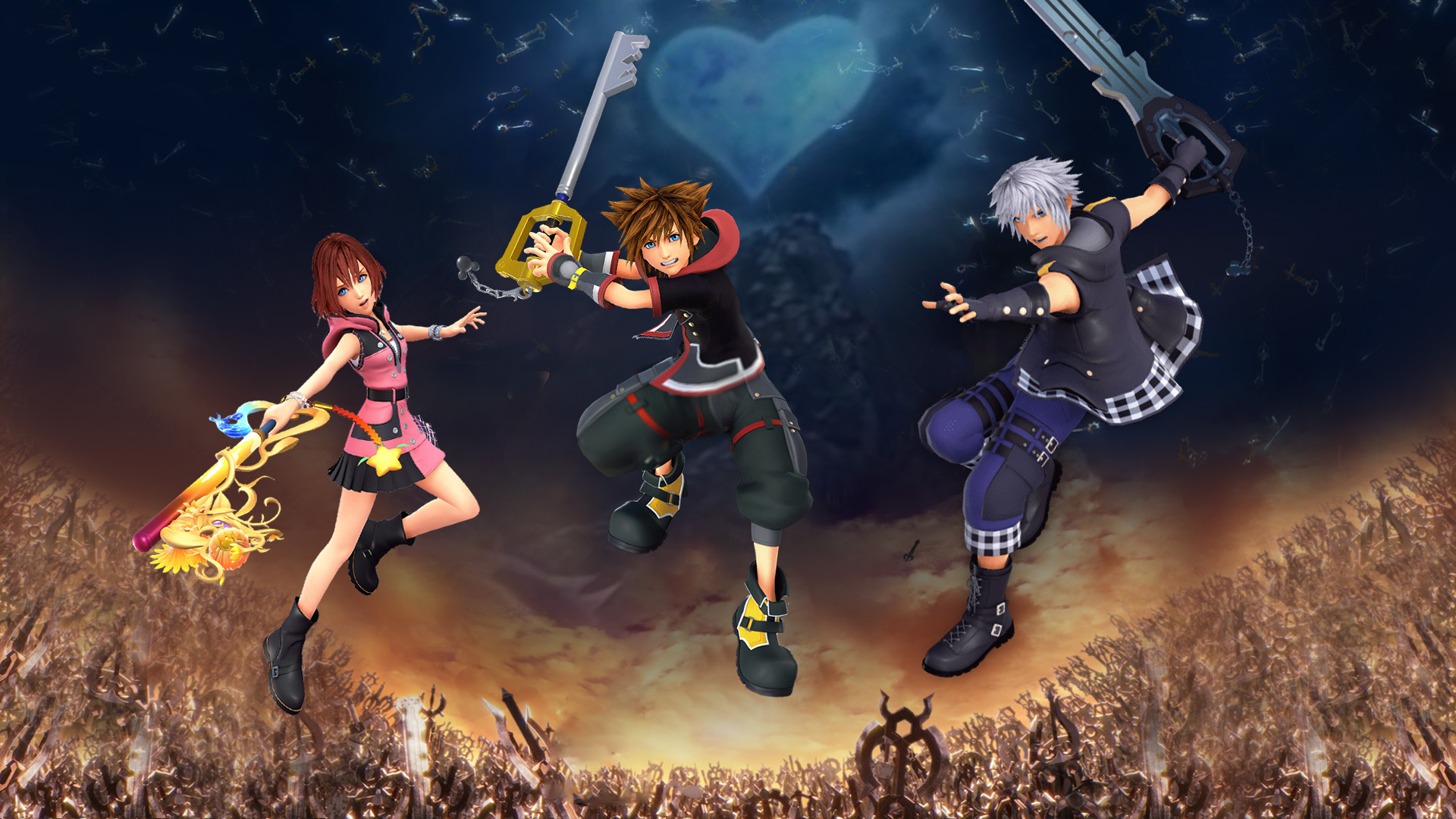 Kingdom Hearts Iii Sora Riku Kairi Wallpaper By The Dark Mamba