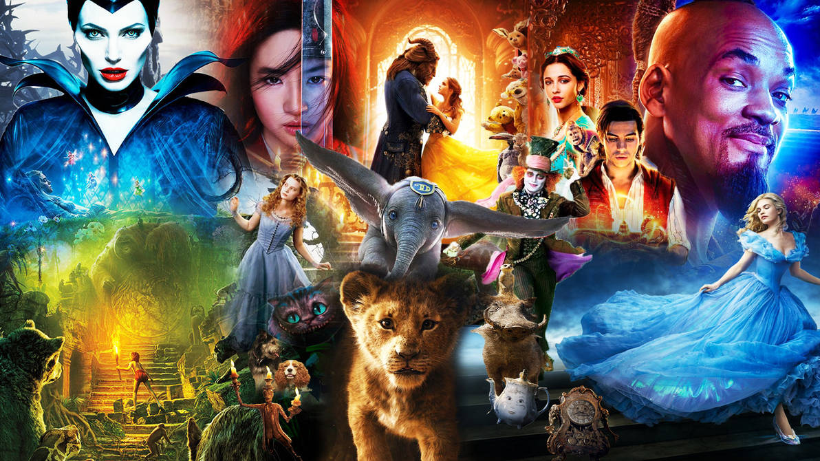 Arte montade com todos os filmes live action feitos pelas Disney até hoje.