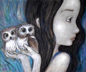 Northern saw-whet owl   by Grzegorz Ptak by GrzegorzPtakArt