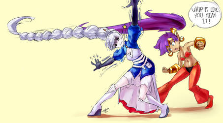 Weiss shows Shantae a neat trick