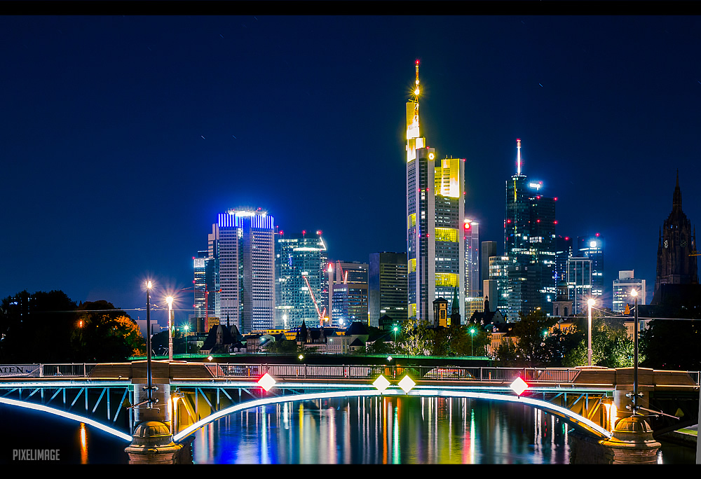 frankfurt am main skyline at night by pixelimage on deviantart. Black Bedroom Furniture Sets. Home Design Ideas