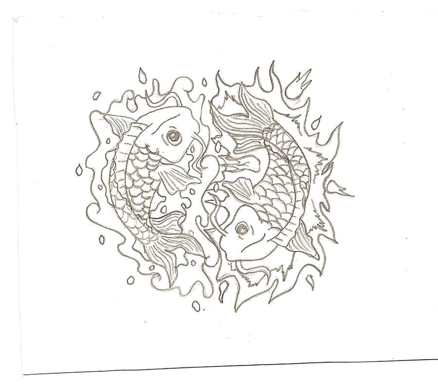 water and fire koi fish tattoo design by iirawrdinosaurii on deviantart. Black Bedroom Furniture Sets. Home Design Ideas