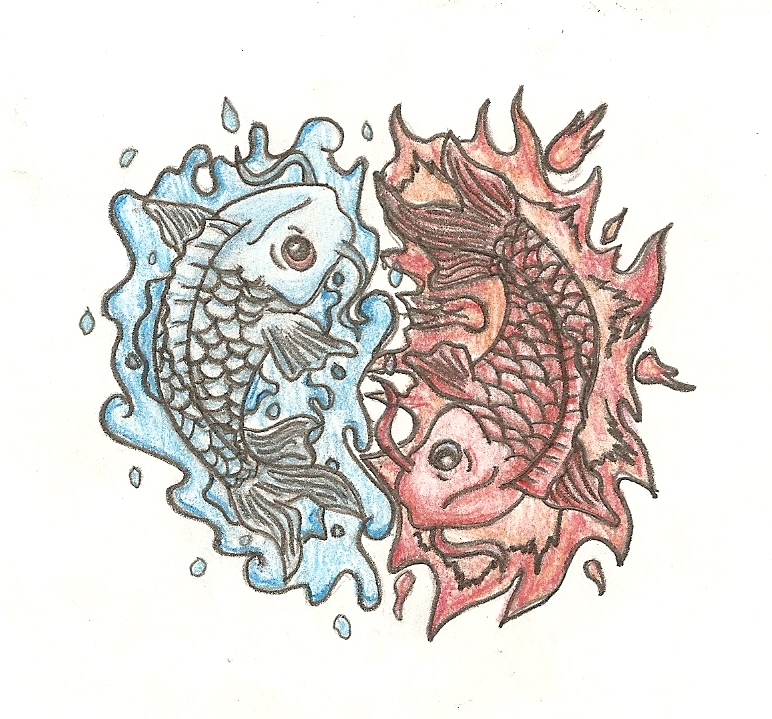 Water and Fire Koi Fish Tattoo Design by iiRawrDinosaurii