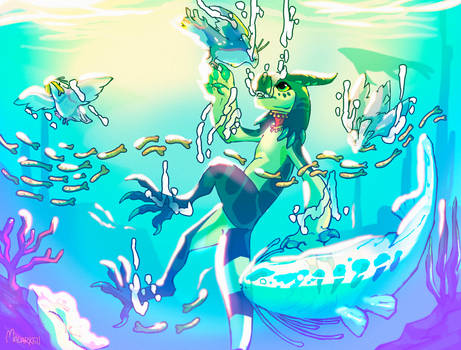 Gamma and the Fishies (Grem2 July Prompt FTO)