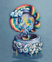 MLP Drawing - Rainbow Dash's Music Box by Moth-Doll
