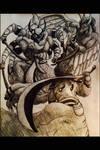 Auron Faces Gilgamesh and Enkidu