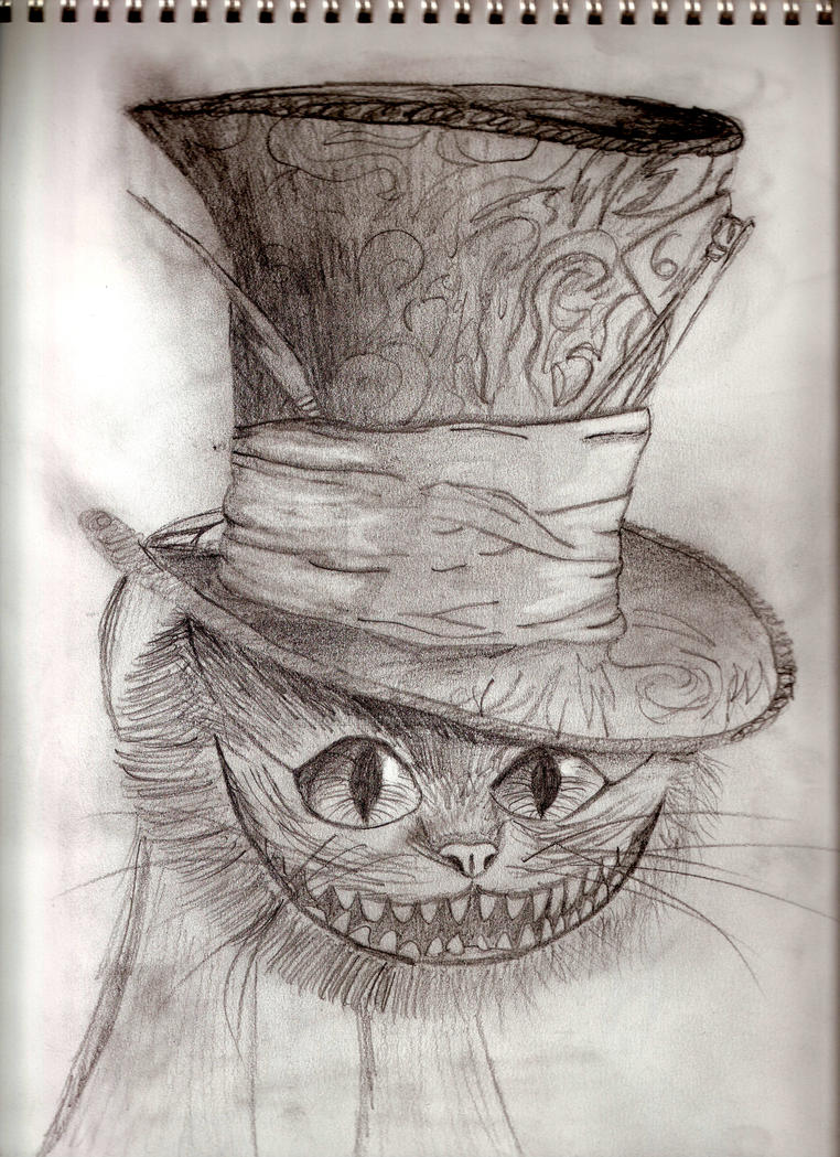 Cheshire Cat with Hatter's Hat by thedarkenedkeeper