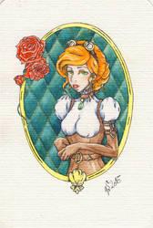 Steampunk Lady Postcard by VictoriaSaviles