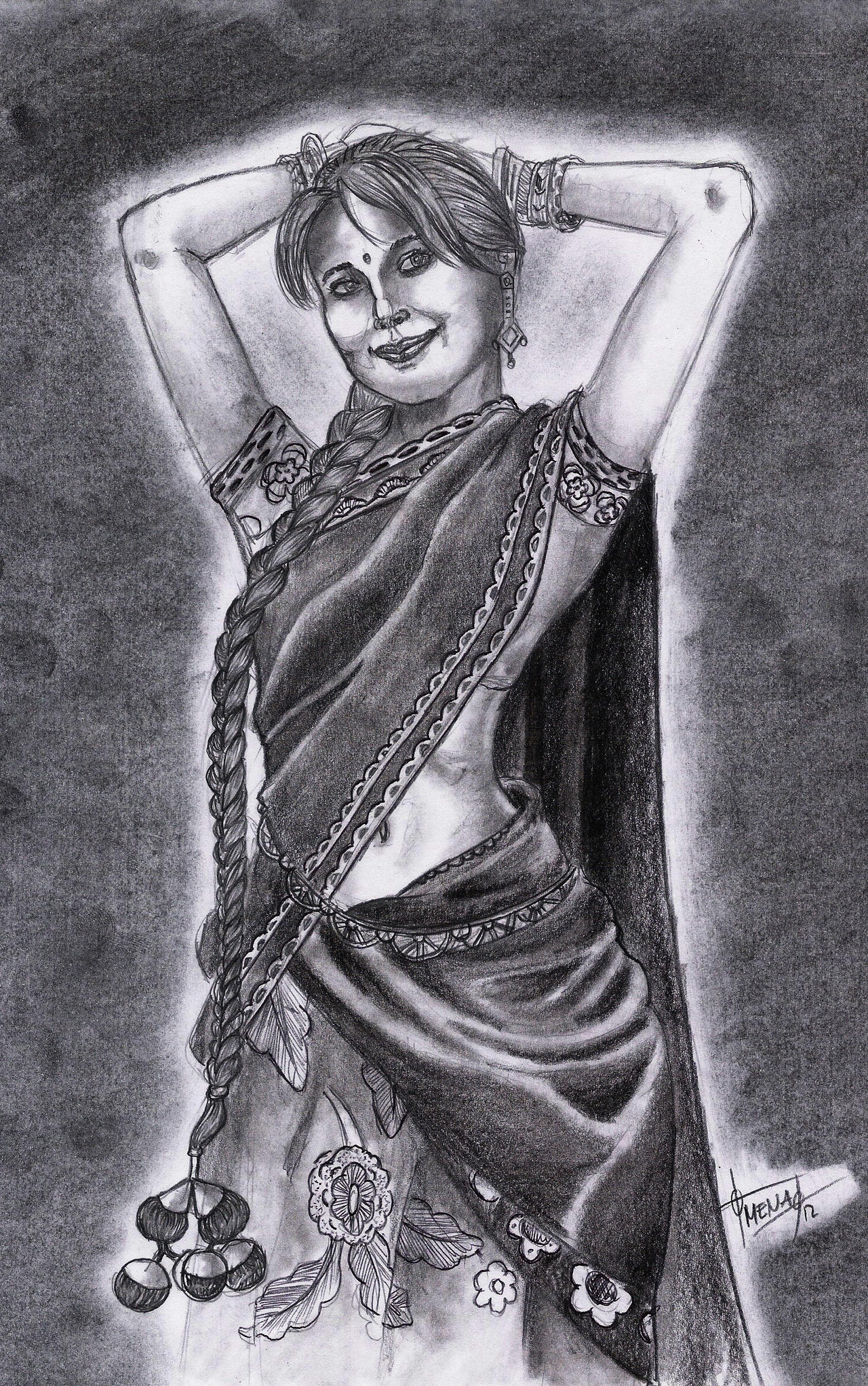 Drawing of an india woman 7