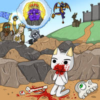 Killer cat of Caerbannog by MoskiDraws