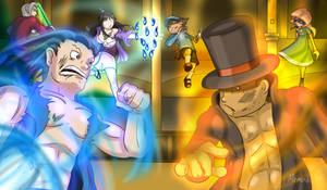 Professor Layton VS Ace Attorney for real by MoskiDraws