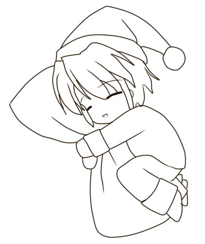 Sleeping Chibi Lineart by Kodokuna-Ran on DeviantArt